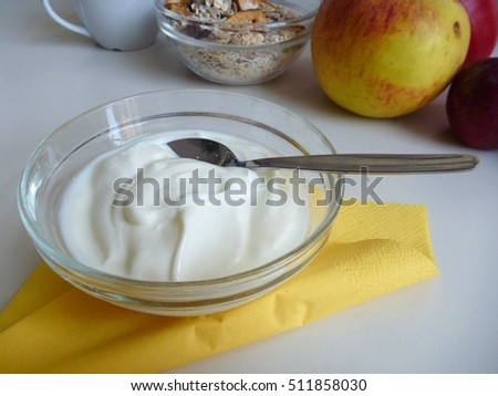 a bowl of fresh healthy white yoghurt with spoon
