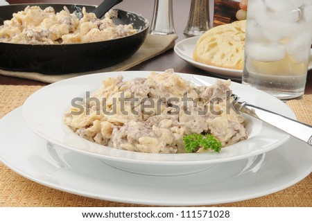 A bowl of hamburger stroganoff