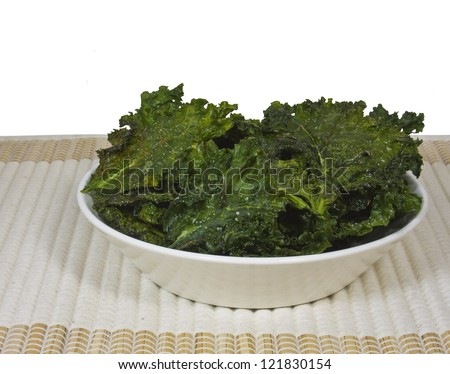 A Bowl of Kale chips - stock photo