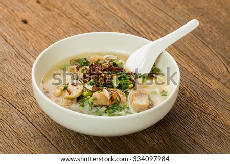 A bowl of Pork Spare Ribs Rice Noodles Soup. Vietnamese food. - stock photo