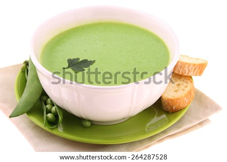 A bowl of soup isolated on white  - stock photo