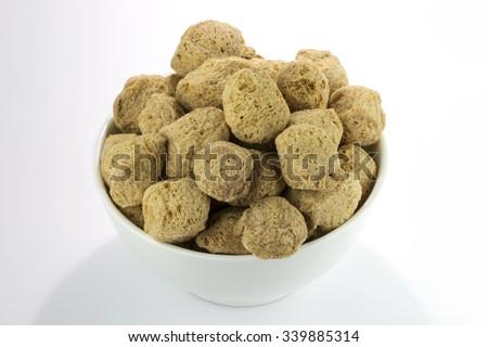 A bowl of soya chunks ( Soya Badi) - stock photo