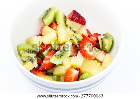 A bowl with fruit salad