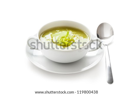 a bowl with leek soup - stock photo