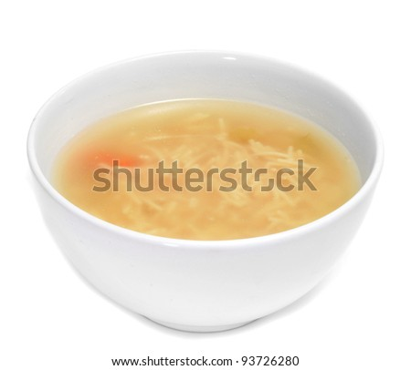 a bowl with noodle soup on a white background - stock photo
