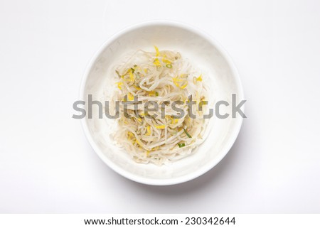 A bowl with Vietnam rice noodles and soybean sprout isolated white, top view at the studio. - stock photo