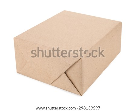 A box of brown cardboard isolated on white.