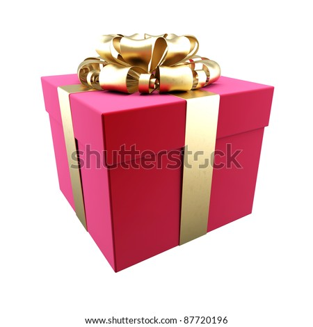 A box with a gift is wrapped around a gold ribbon - stock photo