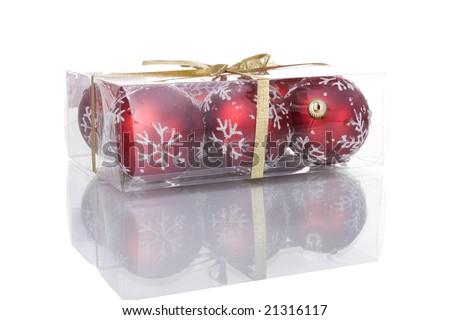 a box with christmas balls inside (selective focus) - stock photo