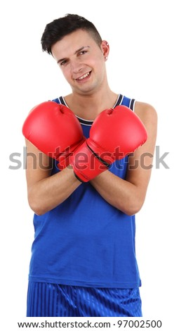A boxer with crossed arms, isolated on white - stock photo
