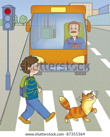 a boy and a cat cross the road at a green light - stock photo