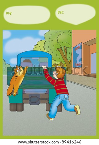 a boy and a cat jumping into the back of the truck, which travels down the street - stock photo
