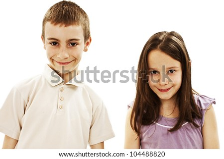 A boy and a girl are laughing. Isolated on white background - stock photo