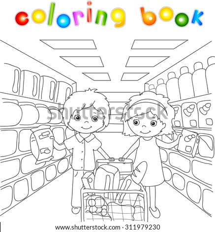 a boy and a girl are shopping in a store. coloring book for children. illustration - stock photo