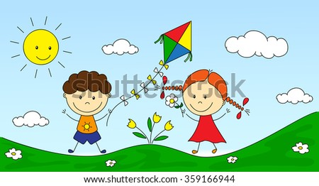 A boy and a girl playing in the meadow and launching a kite. illustration - stock photo