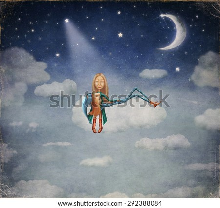 A boy and a girl sitting in the moonlight on cloud  - stock photo