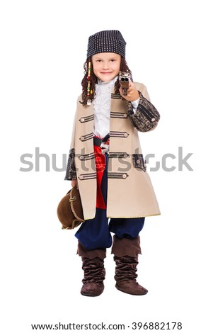 A boy dressed as the medieval pirate. Isolated on white - stock photo