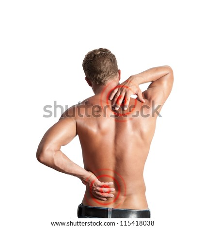 A boy felt back pain on white background - stock photo