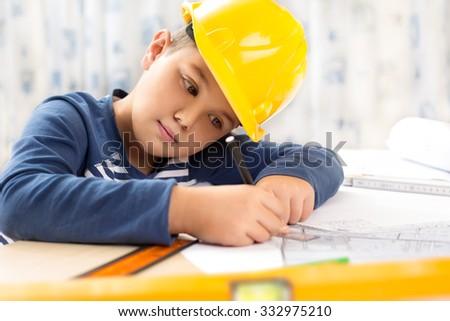 A boy future engineer - stock photo