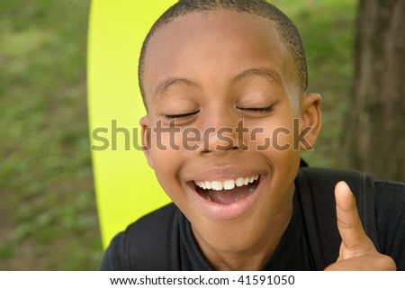a boy has a thought but no real idea - stock photo