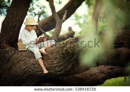 A boy in a straw hat reading a book on a large spreading tree. Children and science.