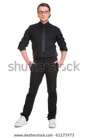 a boy in black suit