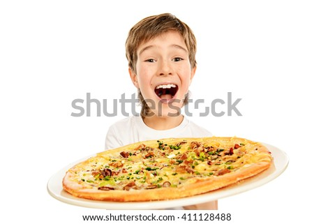 A boy is happy to eat pizza. Fast food. Italian food. Isolated over white. - stock photo