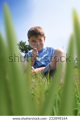 A boy is looking through a magnifying glass and searching for bugs or insects in the long summer grass for an outdoor activity concept.