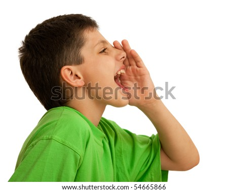 A boy is shouting; isolated on the white background - stock photo