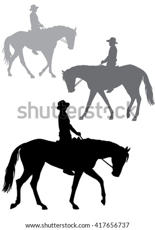 A boy on horseback. A man in a cowboy hat sitting in the saddle. Horse-riding trips. Horse walks quietly. Silhouette on a white background.