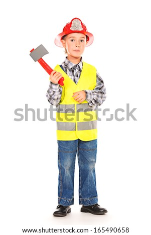 A boy playing fireman. Different occupations. Isolated over white. - stock photo