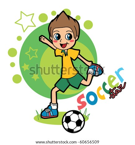 A boy playing soccer to become a star. Raster version of vector illustration ID: 54981427
