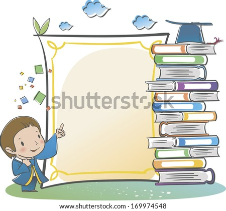 A boy pointing at a stack of books.