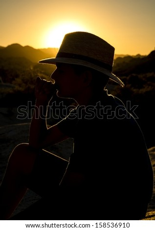 A boy posing for a sunset silhouette shot at Joshua Tree National Park. - stock photo