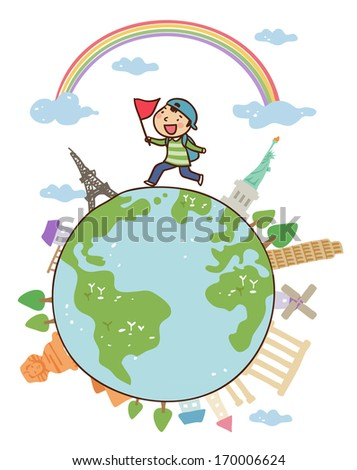 A boy running on the globe with a flag. - stock photo