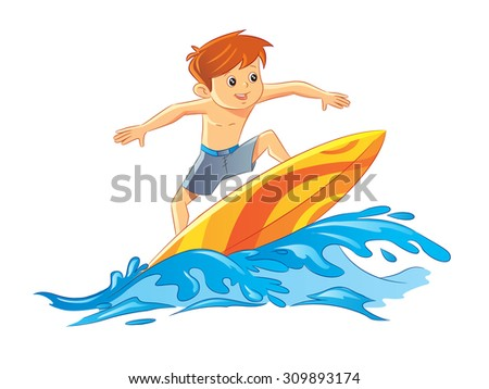 A boy surfing on waves