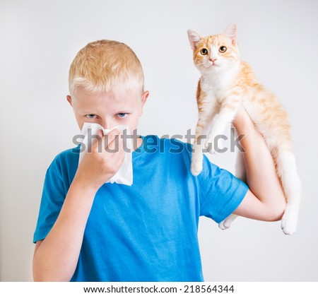 A boy with a red cat, allergy - stock photo
