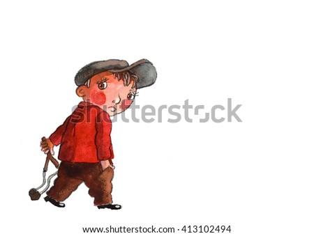 a boy with a slingshot,watercolor,art,illustration,children's illustration - stock photo