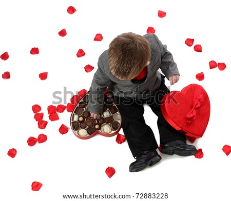 A Boy with Valentine Candy - stock photo