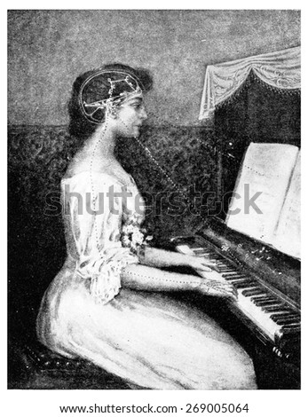A brain picture- Ray of light from music to the eye, vintage engraved illustration.  - stock photo