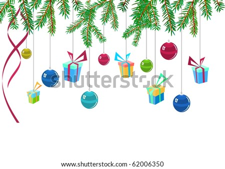 A branch of fir and hanging gifts. Raster version. Vector version is in my gallery