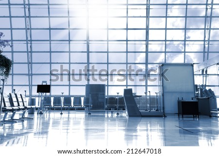 A brand new departure lounge at the airport - stock photo
