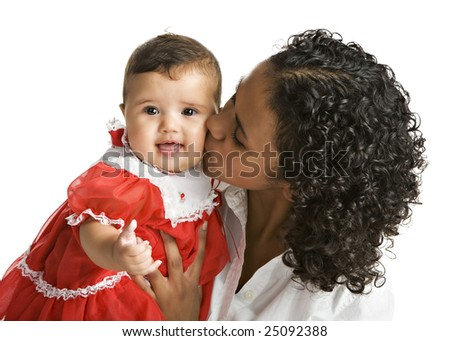 A Brazilian mom kissing her baby daughter.  Isolated on white.