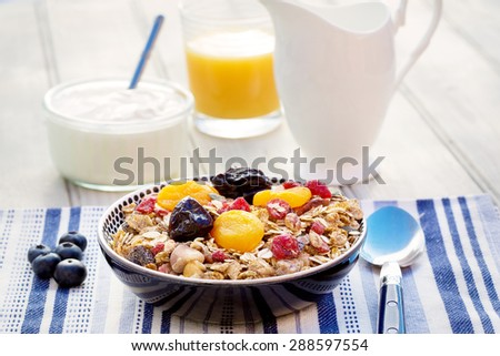 A breakfast of muesli, dried fruit and yogurt