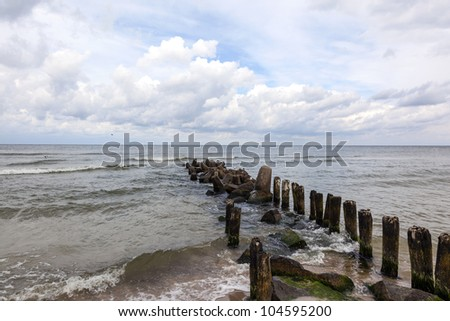 A breakwater in the Baltic Sea, Poland - stock photo