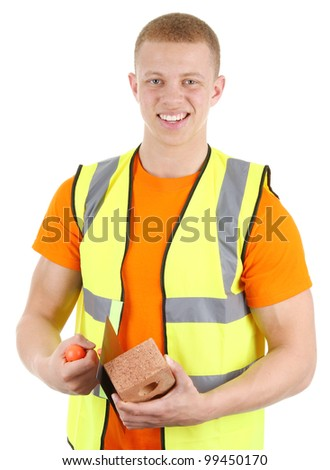 A bricklayer with his trowel, isolated on white - stock photo