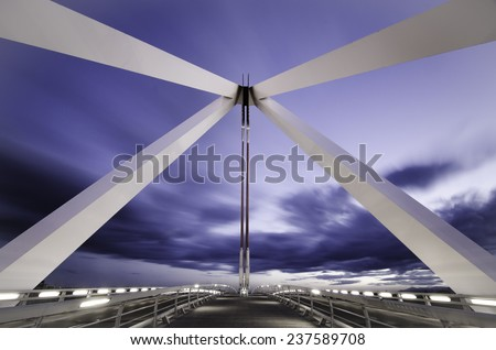 A bridge over A6 highway in Madrid - stock photo