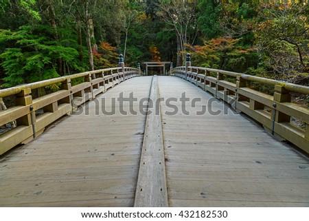 A Bridge to the Inner Area of Ise Jingu Naiku(Ise Grand shrine - inner shrine) in Ise City, Mie Prefecture, Japan   - stock photo