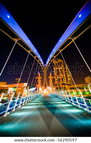 A Bridge with colorful  Lights at night time - stock photo