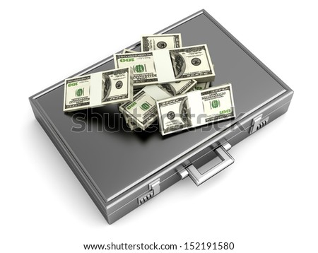 A Briefcase and Dollars in Cash. 3D rendered Illustration.